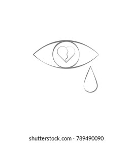 Tears Broken Heart Icon Elements Multi Stock Vector Royalty Free