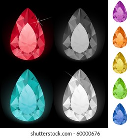 Tear-shaped gemstones collection