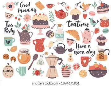 Teatime-Element-Set: Tassen, Teekocher, Süßigkeiten und Küchenutensilien. Ideal für Scrapbooking, Grußkarte, Party Einladung, Poster, Tag, Aufkleber Kit. Handgezeichnete Vektorgrafik.