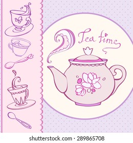 teatime greeting card with mugs.