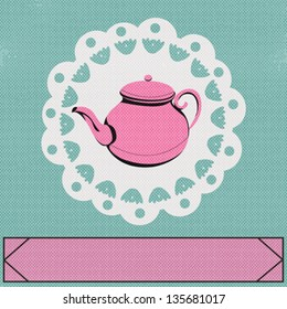 Teatime, Vector background with a vintage style teapot