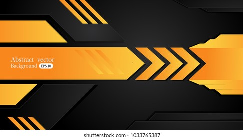 Tech black background with contrast Orange yellow stripes. Abstract vector graphic brochure design