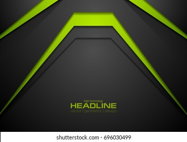 Tech black and green abstract background. Vector design