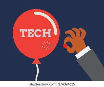 Tech bubble. Conceptual illustraion depicting inflation of technology sector.
