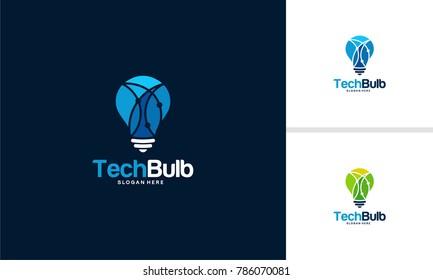 Tech Bulb logo designs concept, Bright Bulb Idea logo designs vector