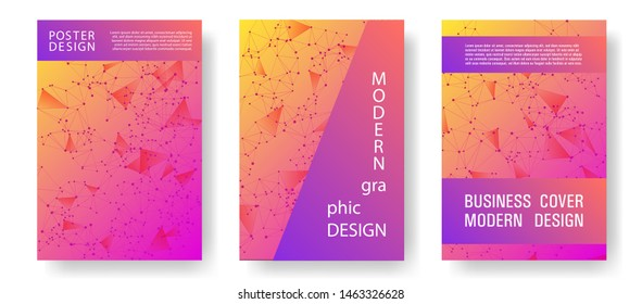 Tech cover layout design. Global network connection tech grid. Interlinked nodes, molecular or social media, web structure concept. Information technology concept cover.