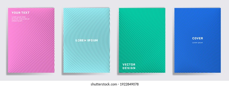 Tech cover templates set. Radial semicircle geometric lines patterns. Linear backgrounds for cataloges, corporate brochures. Lines texture, header title elements. Annual report covers.