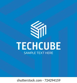 Tech Cube logo design template. Vector hexagon logotype illustration with stripe. Graphic modern box icon symbol isolated on background. Creative technical 3d label badge for company, business