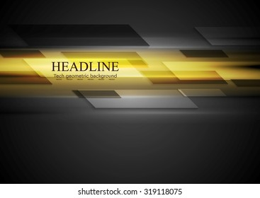 Tech dark background with yellow glowing light. Vector design
