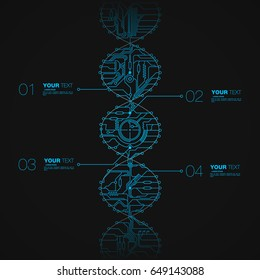 Tech dna style infographic with editable text boxes