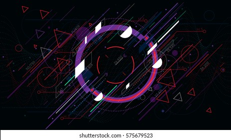 Tech futuristic abstract backgrounds, colorful circle