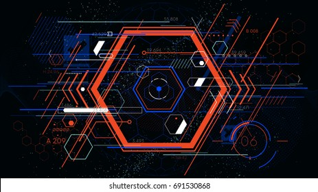 Tech futuristic abstract colorful hexahedron, hud vector geometric backgrounds