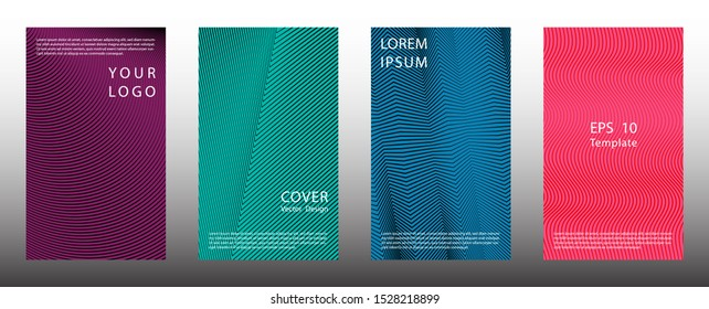 Tech halftone lines cover page templates vector set. Business graphic design. Placard halftone backgrounds collection. Folder covers with lines, curves geometry. Gradient elements.
