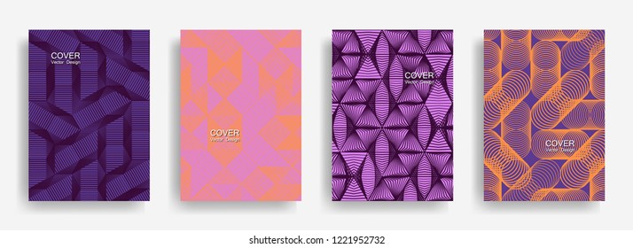 Tech  halftone shapes minimal geometric cover templates set graphic design. Halftone lines grid vector background of triangle, hexagon, rhombus, circle shapes. Simple geometric cover backgrounds.