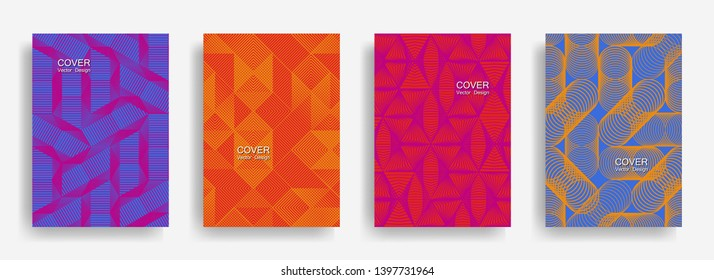 Tech  halftone shapes minimal geometric cover templates set graphic design. Halftone lines grid vector background of triangle, hexagon, rhombus, circle shapes. Classical geometric cover backgrounds.
