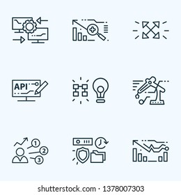 Tech icons line style set with reverse engineering, forecasting model, user predictions and other storage elements. Isolated vector illustration tech icons.