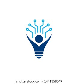 tech lightbulb logo designs concept