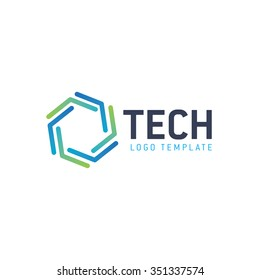 Tech logo. Technology logo. Geometric logo. Hexagon logo