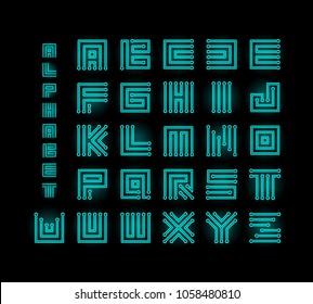 Tech ront, technology vector alphabet, chipset stylized letters, cpu data base letter logos set template, digital microchip linear maze vector illustration on black background.