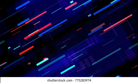 Tech Seamless Texture with Neon Rays and Stripes. Night Urban Streets Background with Bright Traffic Car Lights. Hi Tech Pattern with Light Traces. Cover Futuristic Night Road Texture.