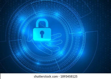 tech security technology abstract background. hand touch privacy protection.