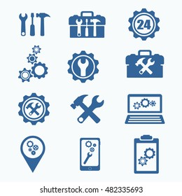 Tech Service Logo. Support settings concept. Mobile phone and computer recovery shop. Options and service tools icon set. Single flat icon isolated. Logo design. Vector illustration. Silhouette.