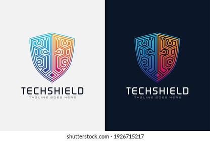 Tech Shield Logo Design. Usable for Business Brand, Tech and Company. Vector Logo Illustration.