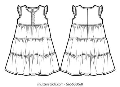 Dress Flat Sketch Images Stock Photos Vectors Shutterstock