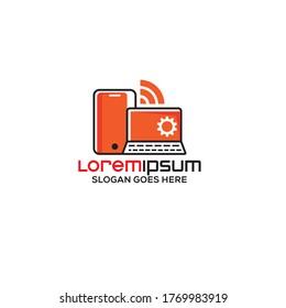 Tech store logo design template vector eps