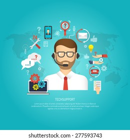 Tech support concept with male operator and customer service symbols flat vector illustration