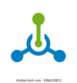 Tech or technology logo, hub connection icon, vector illustration