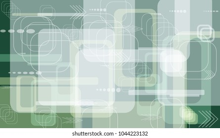 Tech Texture. Colorful Horizontal Technology Background with Frames, Squares, Dots, Arrows and Lines. Modern Abstract Texture for Web, Wallpaper, Applications. Retro Digital Texture. Vector.