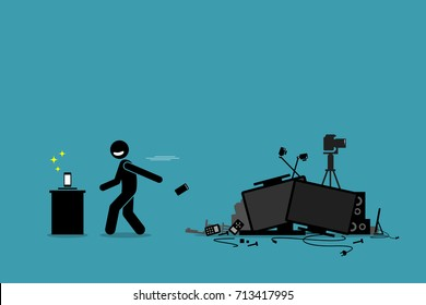 Tech Trash Problem. Vector artwork depicts a man throwing away old phone and other outdated devices to pursue newest technology and gadget.