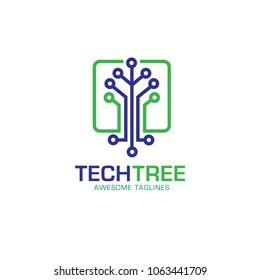 tech tree logo concept, green network  technology logo vector