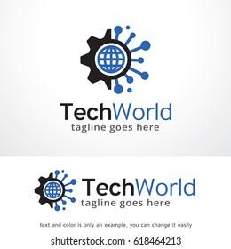 Tech World Logo Template Design Vector, Emblem, Design Concept, Creative Symbol, Icon