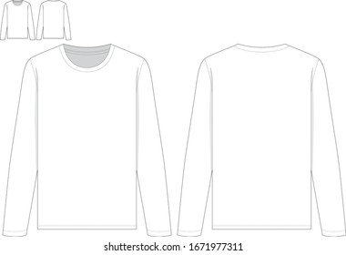 techinal drawing fashion flat of women long sleeve t shirt with round neck front and back view