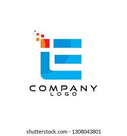 tech/it/ict letter ie/ei//le/el logo design vector