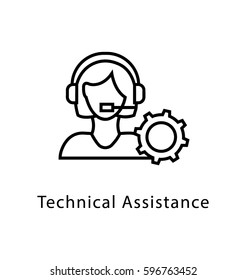 Technical Assistance Vector Line Icon
