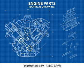Technical blue background with drawings of engine details and mechanisms.Engine line drawing background. Engine Vector illustration