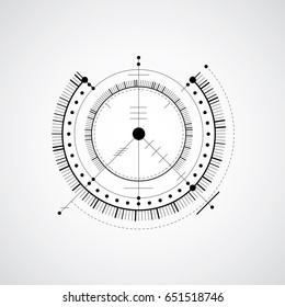 Technical blueprint, black and white vector digital background with geometric design elements, circles. Illustration of engineering system, abstract technological backdrop.