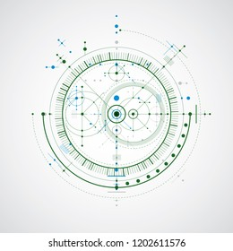 Technical blueprint, colorful vector digital background with geometric design elements, circles. Illustration of engineering system, abstract technological backdrop.