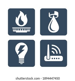 Technical building system flat icons - electricity, gasification, water supply and LAN internet - vector signs for site architectural plan infographics