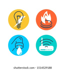 Technical building system icons set - electricity, gasification, water supply and LAN internet - vector signs for site architectural plan