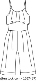 Technical clothes drawing template, flat sketch, summer jumpsuit