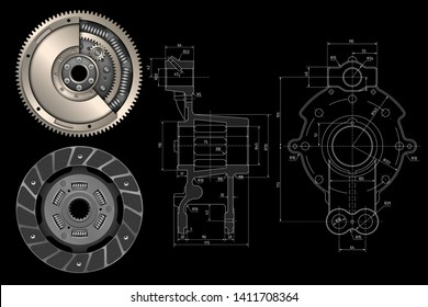 Technical design. Engineering drawing. Industrial background. Flywheel for engine. Сar clutch kit. Machine parts. Clutch disc. Car parts. Friction disk for car. Vector illustration.
