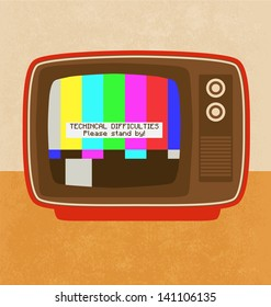 Technical Difficulties Illustration - Television Set