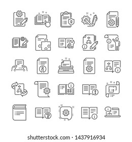Technical document line icons. Set of Plan, Instruction and Manual icons. Help document, Building plan and Algorithm symbols. Technical blueprint, Engineering instruction, Work tool, building. Vector