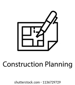 A technical drawing or architectural plan, blueprint icon