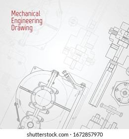 Technical drawing background . Mechanical Engineering drawing. Engine line drawing background