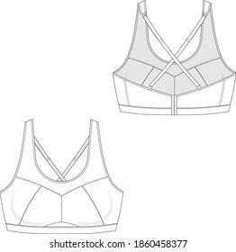 technical drawing for a basic model of sport top \ bra style 2